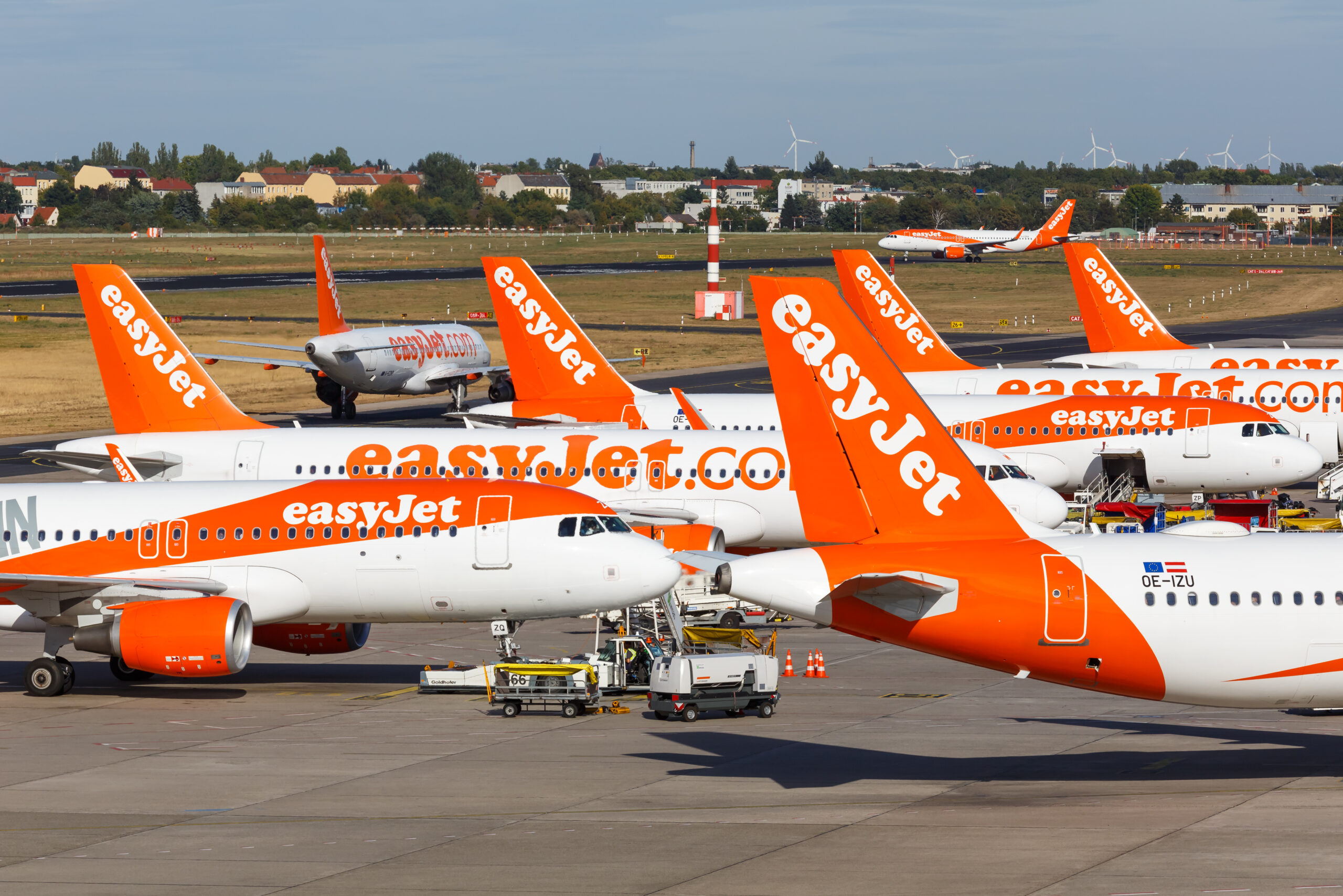 EasyJet Airbus A320 airplanes at Berlin Tegel Airport (TXL) in Germany. Airbus is a European aircraft manufacturer based in Toulouse, France.