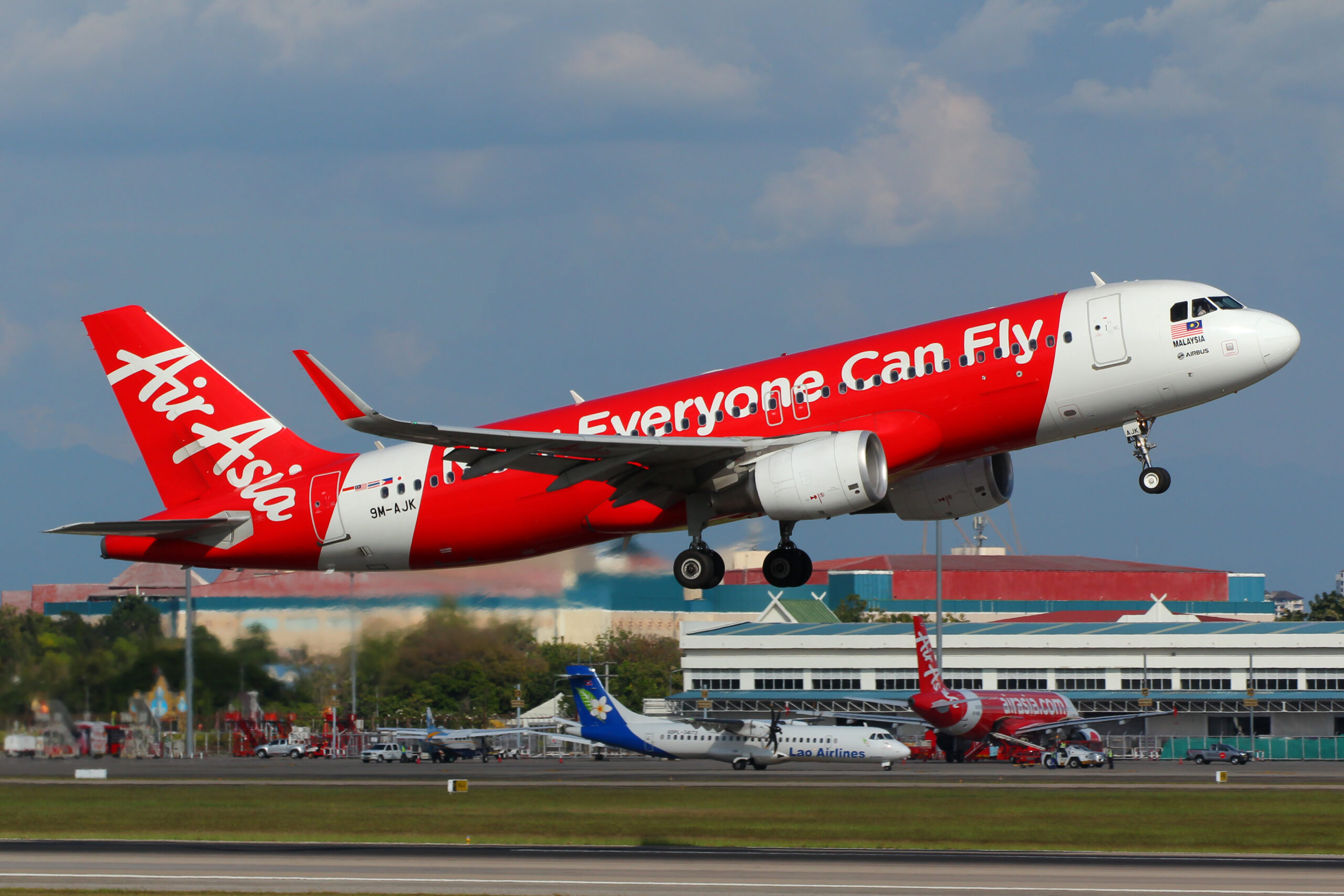 Low cost carrier, Air Asia, taking off.