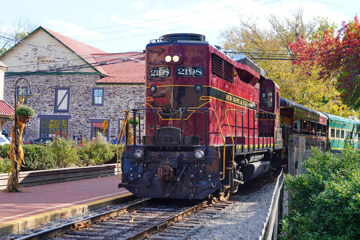 NEW HOPE, PA- View of the New Hope and Ivyland rail road, a heritage train line for visitors going on touristic excursions in Bucks County, Pennsylvania.